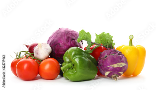Fotobehang Groenten Heap of fresh ripe vegetables on white background. Organic food