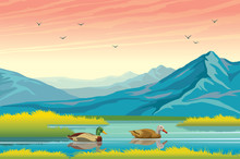 Ducks, Lake, Mountains And Autumn Landscape.