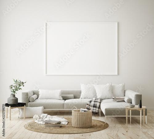 Obraz mock up poster frame in hipster interior background, living room, Scandinavian style, 3D render, 3D illustration - fototapety do salonu