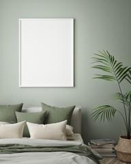 mock up poster frame in hipster interior background, bedroom, Scandinavian style, 3D render, 3D illustration