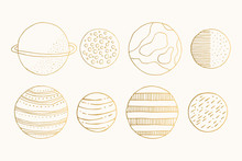 Set Of Hand Drawn Golden Cute ...