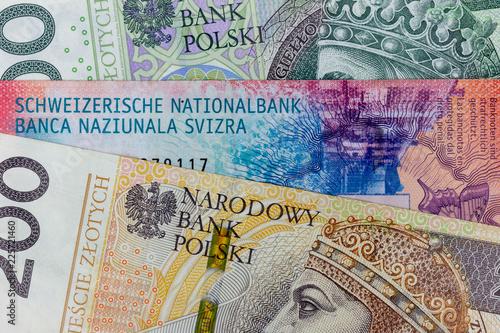 Fotografía  Close-up macro photography of frank and polish zloty
