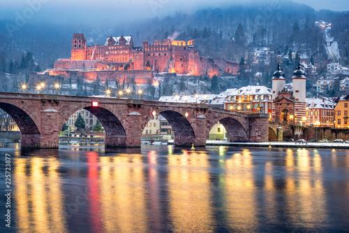 Foto auf Leinwand Schloss Heidelberg im Winter, Baden-Württemberg, Deutschland