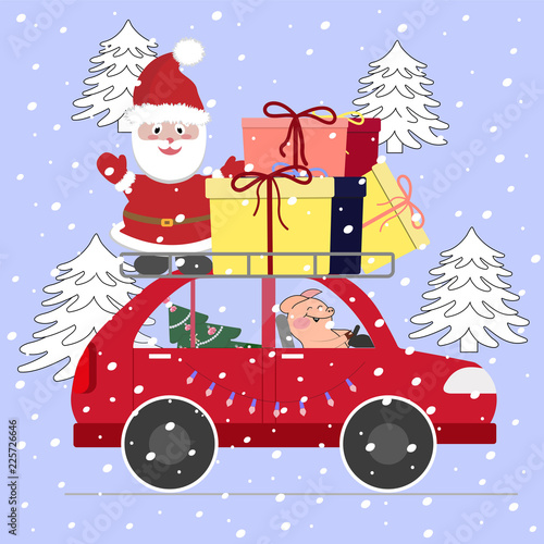 Papiers peints Chambre bébé Santa with a piglet on the car with gifts and a Christmas tree.