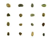Collection Of Different Stones And Pebbles Isolated On White Background.