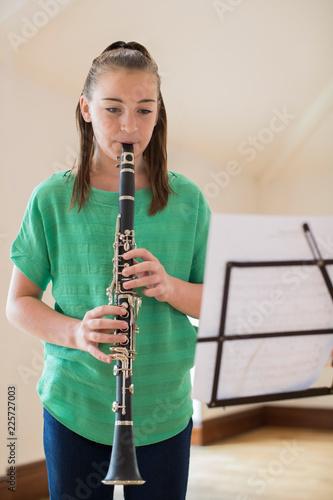 Female High School Student Playing Clarinet Fototapeta