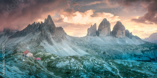 Mountain ridge view of View of Drei Zinnen or Tre Cime di Lavaredo, South Tirol, Wallpaper Mural