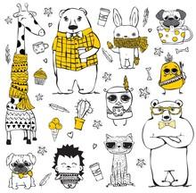 Vector Set Of Cute Doodle Hips...