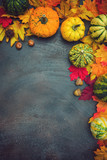 Fototapeta Tulipany - Autumn background with colorful leaves and pumpkins