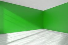 Empty Green Room Corner With W...