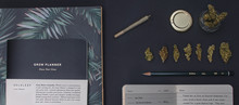 Top View Of Stationery And Cannabis With A Joint And Jar Flat Lay