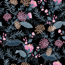 Trendy Seamless Pink Floral And Leaves Pattern In Vector.