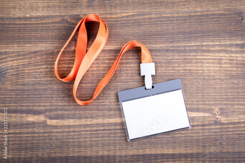 White empty staff identity mockup with orange lanyard Tableau sur Toile