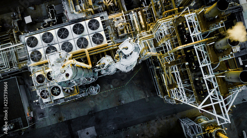 Canvas Prints Ship Oil Refinery from above