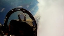 Loop Of POV Shots From The Cockpit Of A Fighter Plane. Loop 2 Of 2.