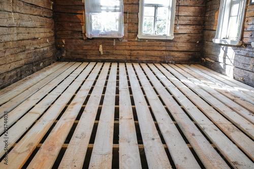 Fototapeta the floor construction in an old wooden house obraz na płótnie
