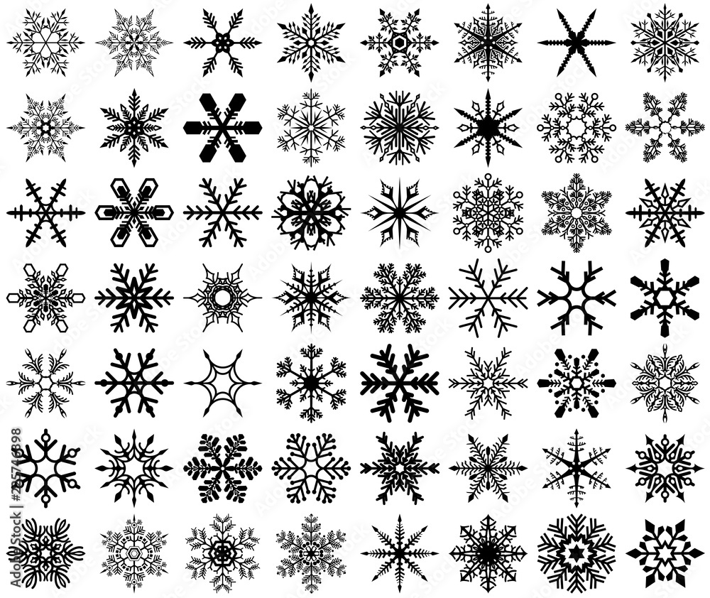 Fototapeta Snowflakes Set - Practical and Stylish Fakes for Graphics, Designers and Home Use, Vector Illustration