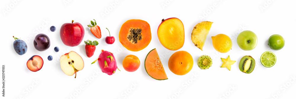 Fototapety, obrazy: Creative layout made of fruits. Flat lay. Plum, apple, strawberry, blueberry, papaya, pineapple, lemon, orange, lime, kiwi, melon, apricot, pitaya and carambola on the white background.