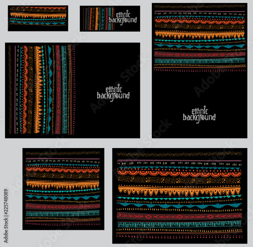 Papiers peints Style Boho Set of corporate identity templates in ethnic tribal style
