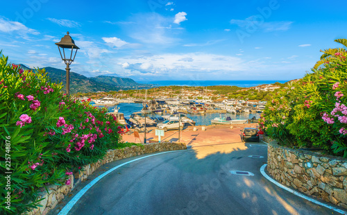 View of harbor and village Porto Rotondo, Sardinia island, Italy.