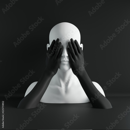 3d render, white female mannequin head, eyes closed by hands, blind concept, fas Canvas Print