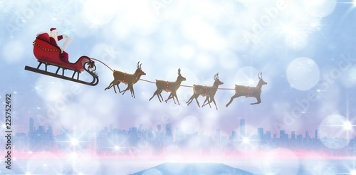 Composite image of side view of santa claus riding on sleigh