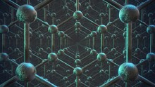Loop Of Loopable Graphene Structure. Rows Of Carbon Atoms. Honeycombs