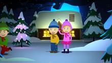 Loop Of Kids Looking At Snowman Chasing The Boy Holding Carrot. Loop 2 Of 2.