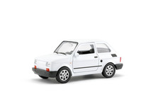 Small White Retro Toy Car With Clipping Path On White Background