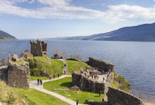 Ruins Of Urquhart Castle At Loch Ness Lake In Scotland.