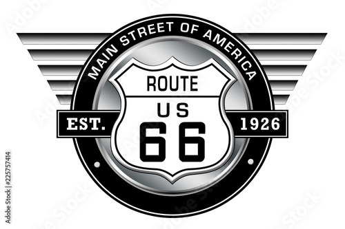 Photo Route 66 - Main Street of America - Logo with retro style wings