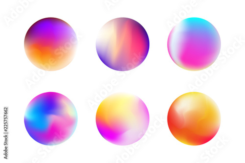 Photo Set gradient colorful sphere in trendy style