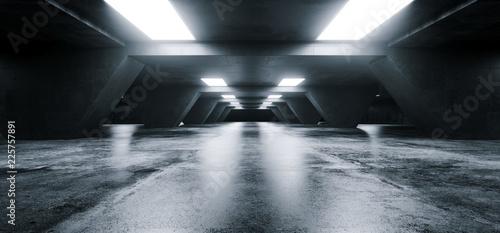 Stampa su Tela Empty Elegant Modern Grunge Dark Reflections Concrete Underground Tunnel Room Wi