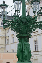 Close-up Of Old Lamppost On Hradcany Square, Prague, Czech.