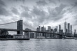 Panorama new york city at evening in monochrome blue tonality