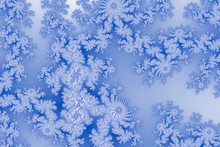 Fractal Card In Tender Snowflake In Imitation Of Frosty Glass