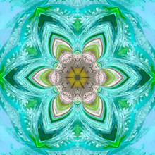 Neon Turquoise Tile, Lotus Arabesque