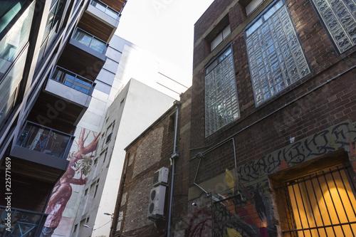 Industrial laneway buildings Melbourne, Australia. View upwards. Canvas Print