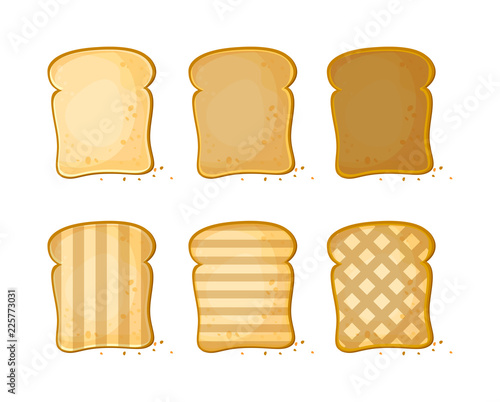Fototapeta White bread, Set of 6 slices toast bread, vector illustration isolated on a white background
