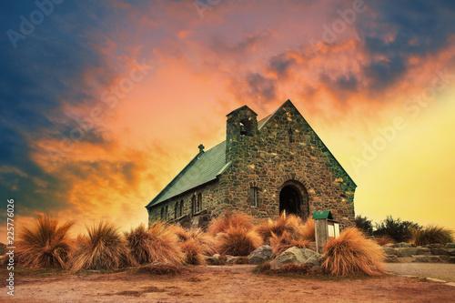 Foto op Plexiglas Oceanië church of good shepherd important landmark and traveling destination near lake tekapo south island new zealand