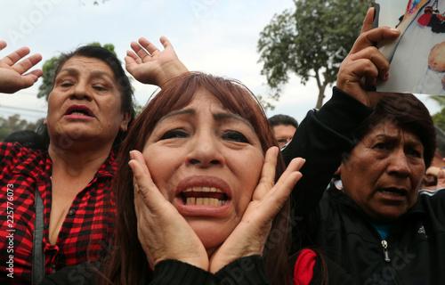 Supporters of former President Alberto Fujimori yell slogans