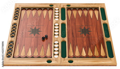 Fotografie, Obraz Backgammon, board game. 3d rendering