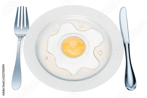 Plate with fried egg, 3D rendering