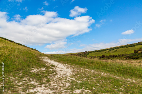 Keuken foto achterwand Beige A pathway through countryside in the South Downs in Sussex
