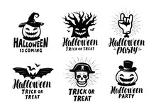 Halloween, Set Of Labels Or Ic...