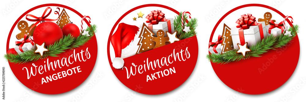 Fototapeta Button Set mit Geschenken und Lebkuchen - Weihnachtsangebote, Weihnachtsaktion
