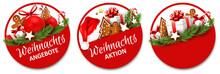 Button Set Mit Geschenken Und Lebkuchen - Weihnachtsangebote, Weihnachtsaktion
