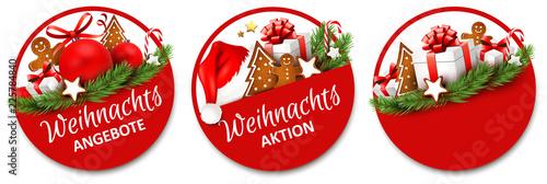 Fototapeta Button Set mit Geschenken und Lebkuchen - Weihnachtsangebote, Weihnachtsaktion obraz