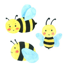 Bee Watercolor Cartoon Set. Honey Bee Isolated On White Background