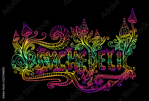 Photographie  Bright, hallucinogenic, decorative, fantastic mushrooms, plants and word psychedelic, gradient color outline